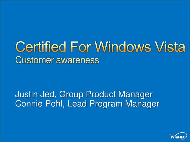 Certified For Windows Vista