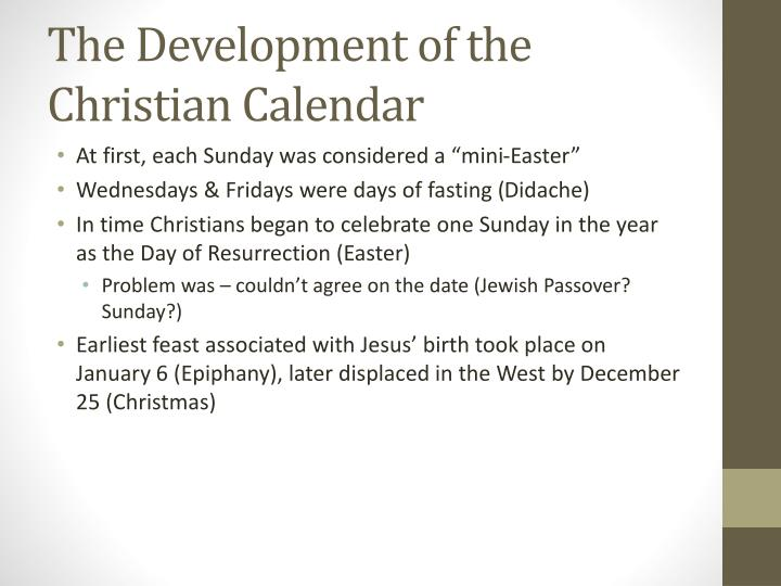 The Development of the Christian Calendar