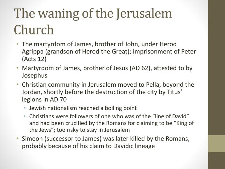 The waning of the Jerusalem Church
