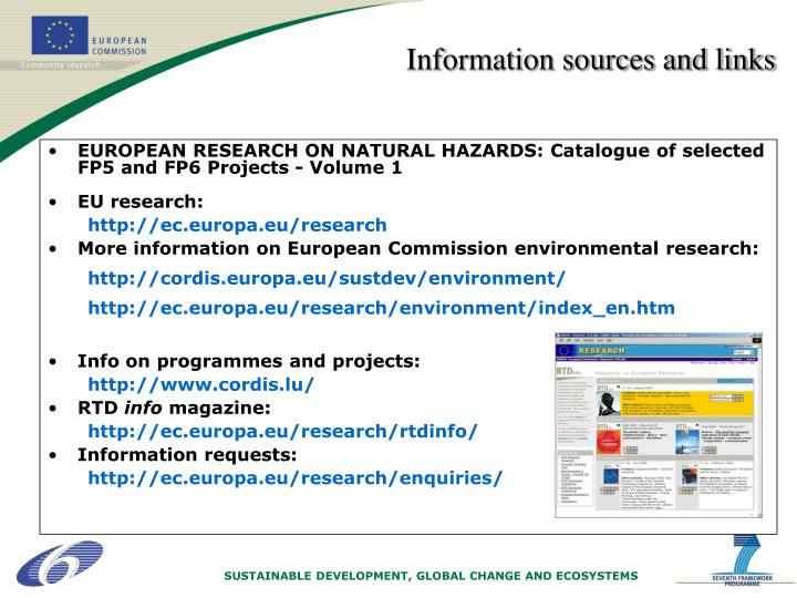 Information sources and links