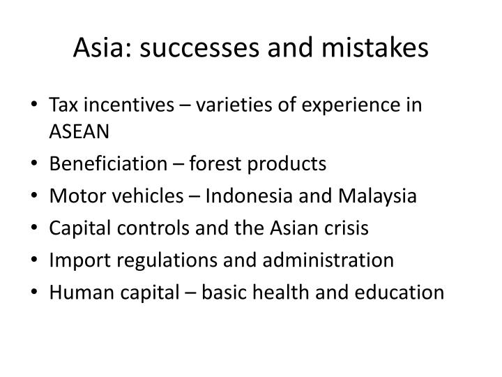 Asia: successes and mistakes