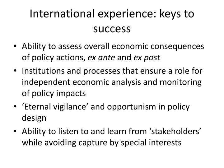 International experience: keys to success