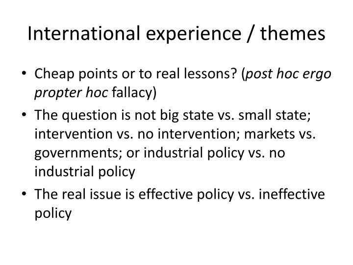 International experience / themes