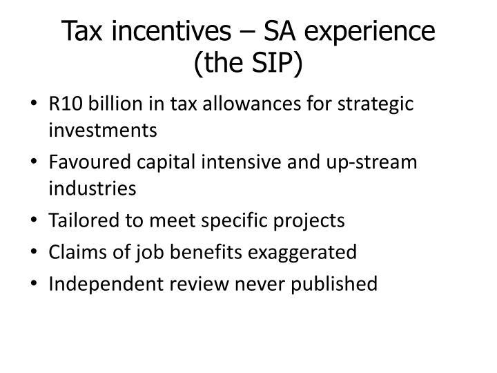 Tax incentives – SA experience