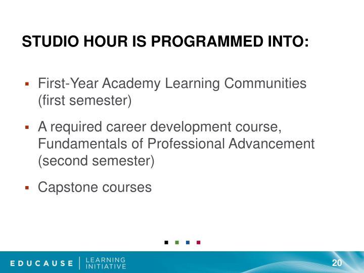 Studio Hour is programmed into: