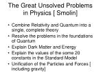 the great unsolved problems in physics smolin