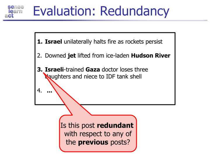 Evaluation: Redundancy