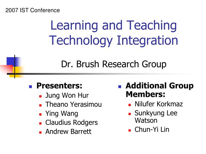 technology integration research brush teaching learning dr presentation ppt powerpoint