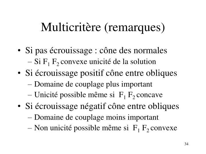 Multicritère (remarques)