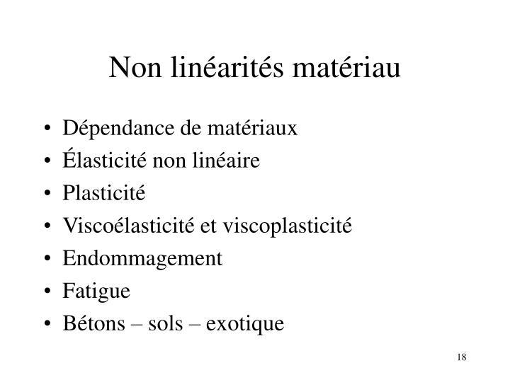 Non linéarités matériau