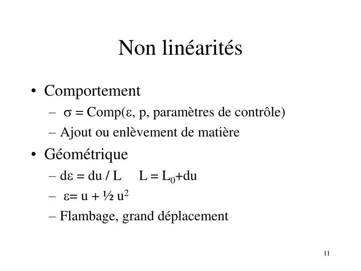 Non linéarités