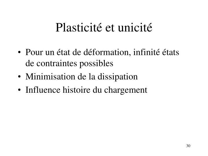 Plasticité et unicité