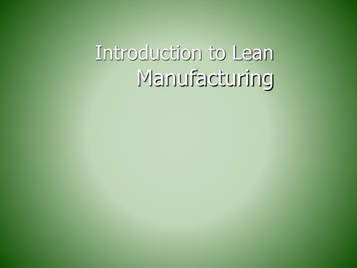 introduction to lean manufacturing n.