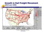 growth in rail freight movement 2010 over 1998