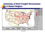 intensity of rail freight movements in a select region