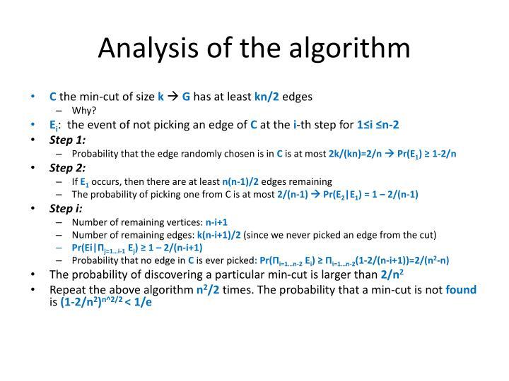 Analysis of the algorithm