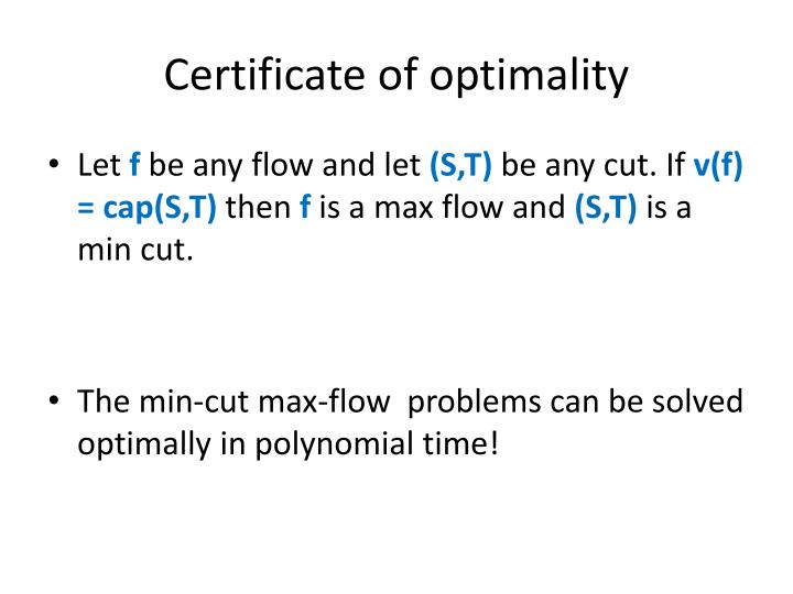 Certificate of optimality