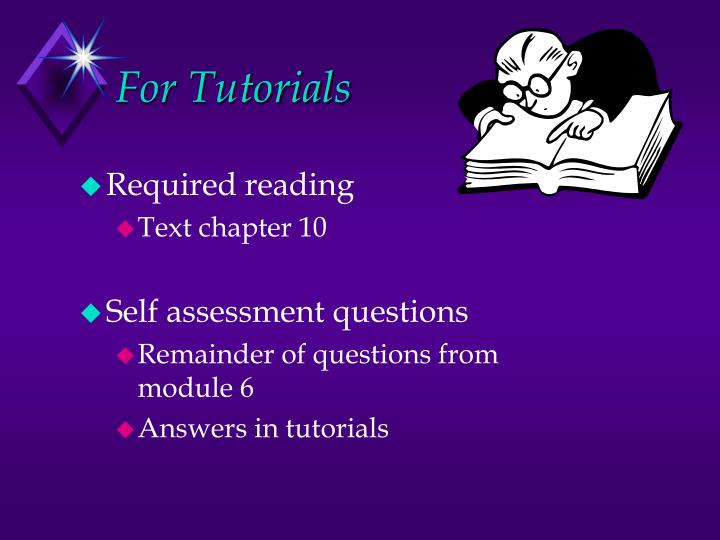 For Tutorials