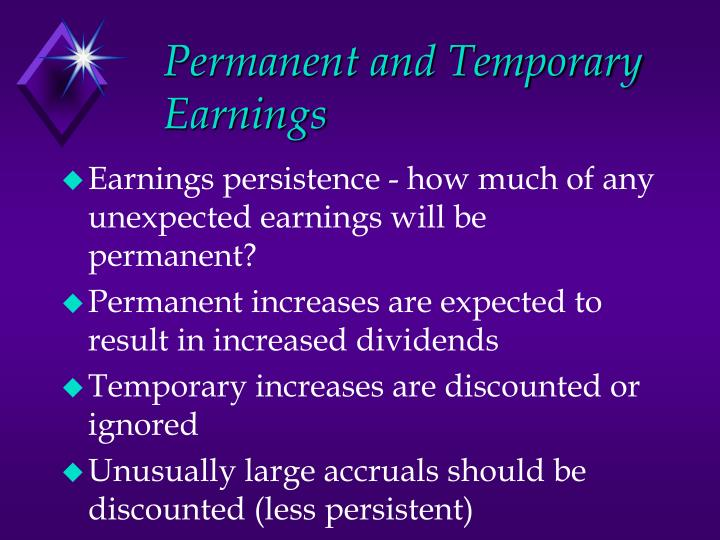 Permanent and Temporary Earnings