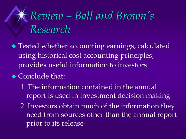 Review – Ball and Brown's Research