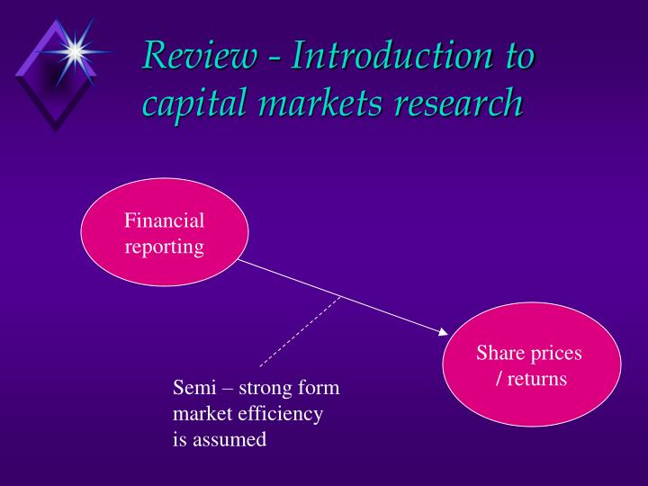 Review introduction to capital markets research