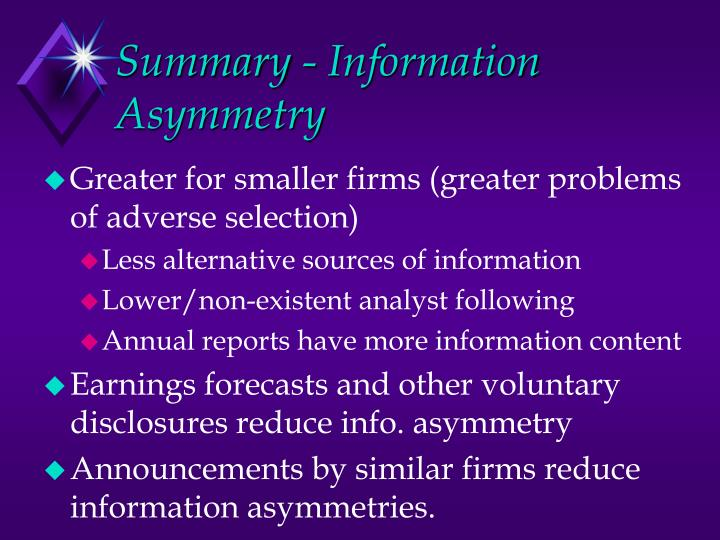 Summary - Information Asymmetry