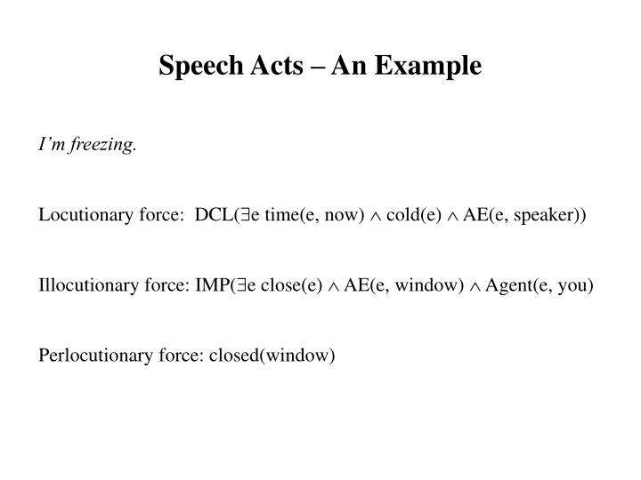 Speech Acts – An Example