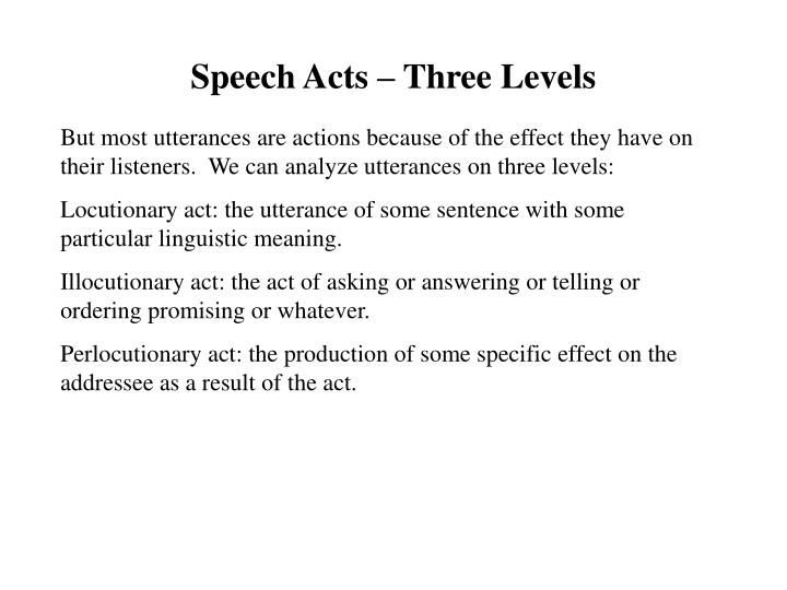 Speech Acts – Three Levels