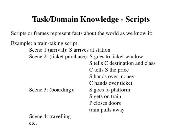 Task/Domain Knowledge - Scripts