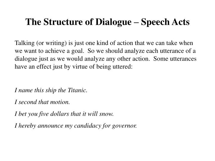 The Structure of Dialogue – Speech Acts