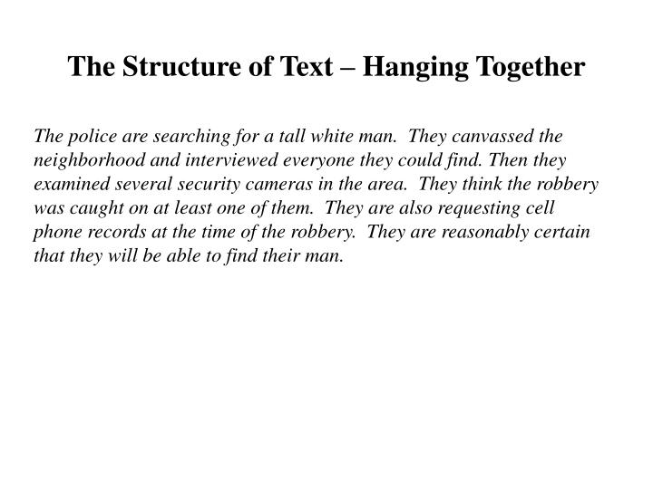 The Structure of Text – Hanging Together