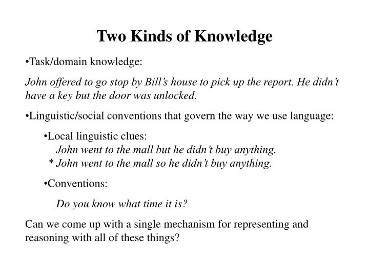 Two Kinds of Knowledge