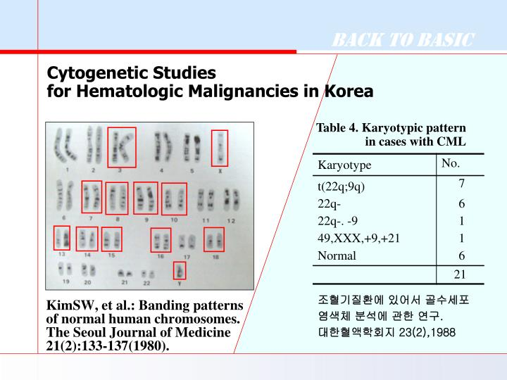 KimSW, et al.: Banding patterns of normal human chromosomes. The Seoul Journal of Medicine 21(2):133-137(1980).