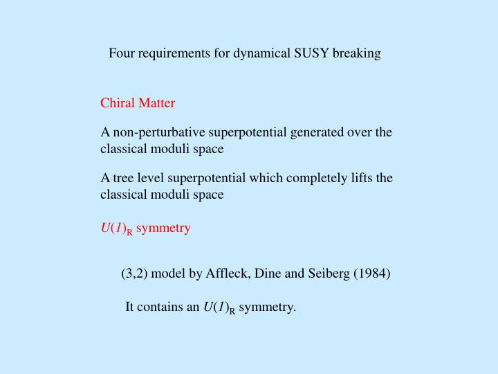 Four requirements for dynamical SUSY breaking