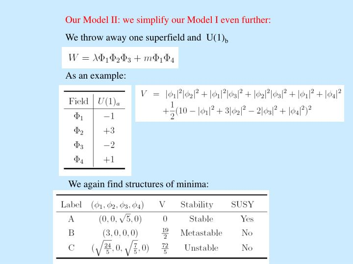 Our Model II: we simplify our Model I even further: