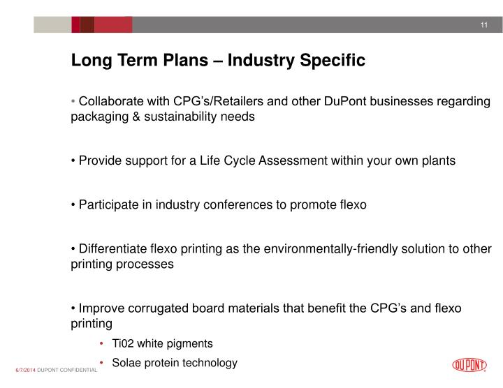 Long Term Plans – Industry Specific