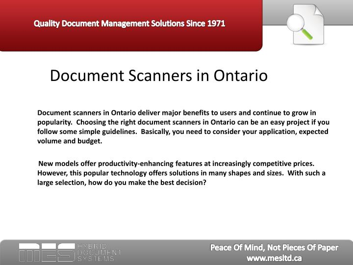 Document scanners in ontario