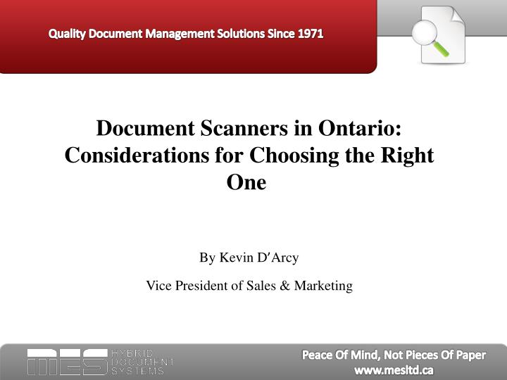 Document Scanners in Ontario:  Considerations for Choosing the Right One