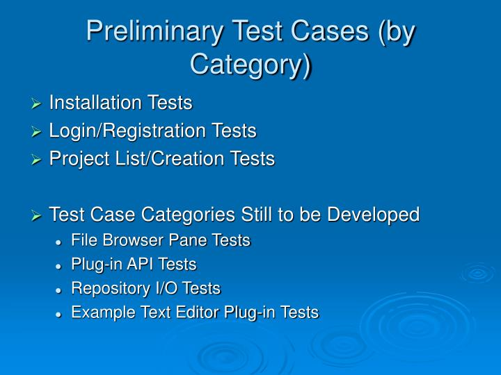 Preliminary Test Cases (by Category)
