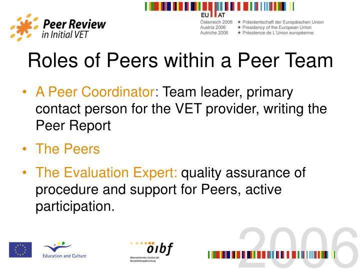 Roles of Peers within a Peer Team