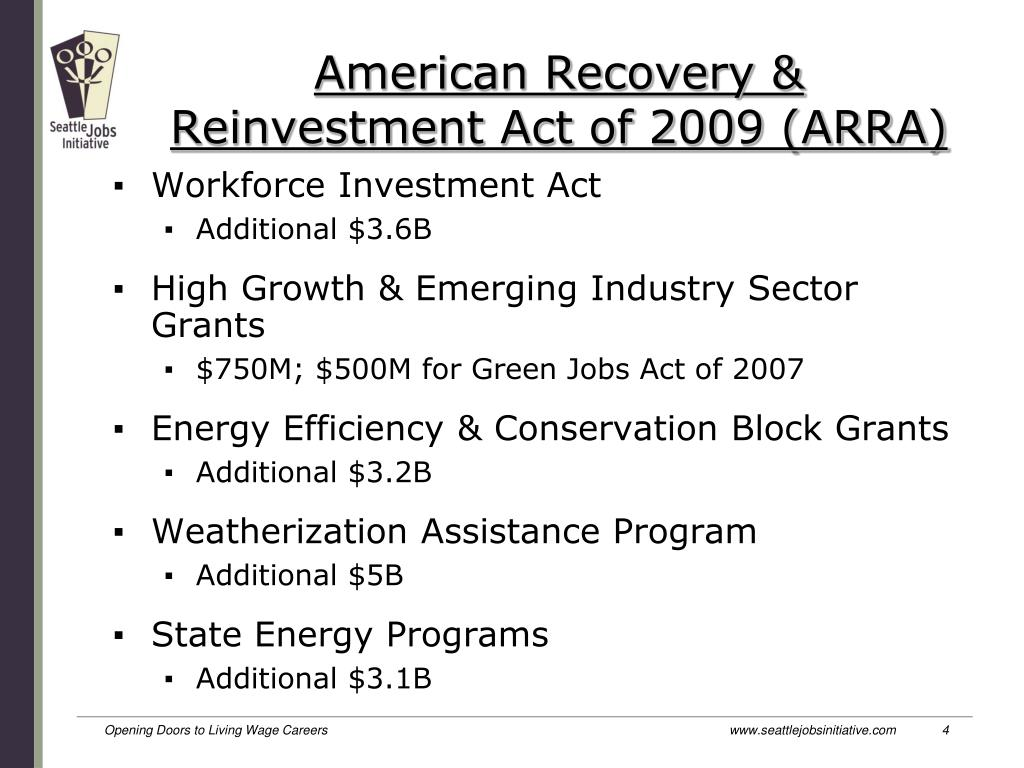American Recovery & Reinvestment Act of 2009 (ARRA)