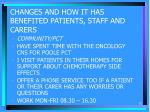 changes and how it has benefited patients staff and carers12