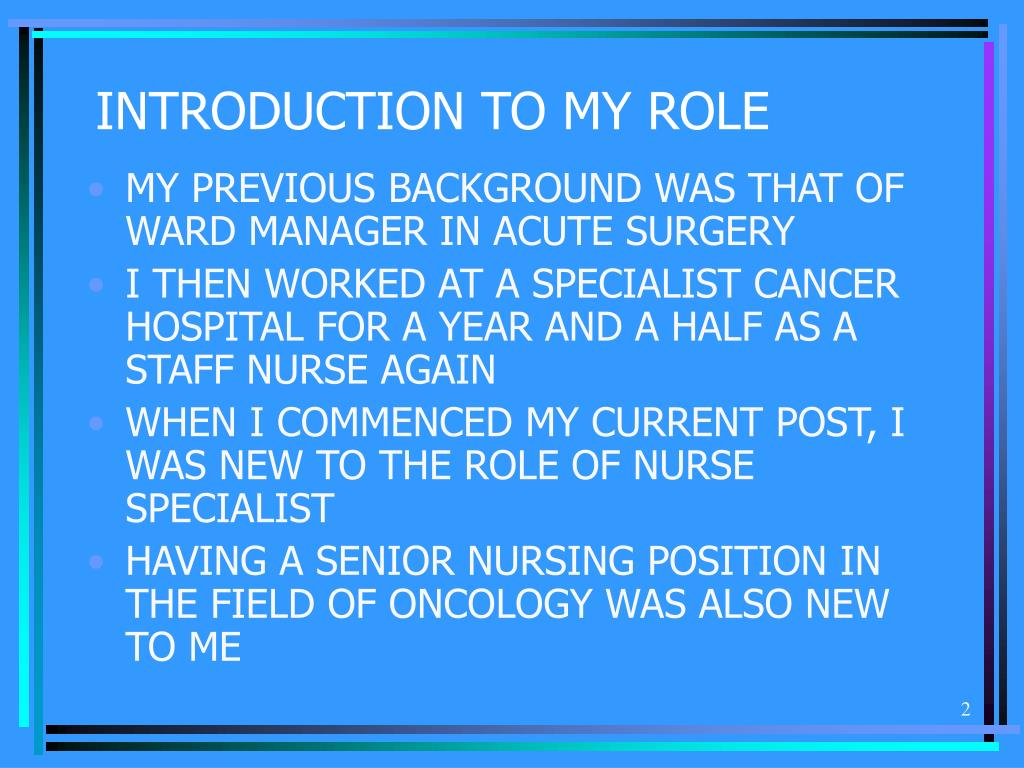 INTRODUCTION TO MY ROLE