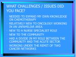 what challenges issues did you face