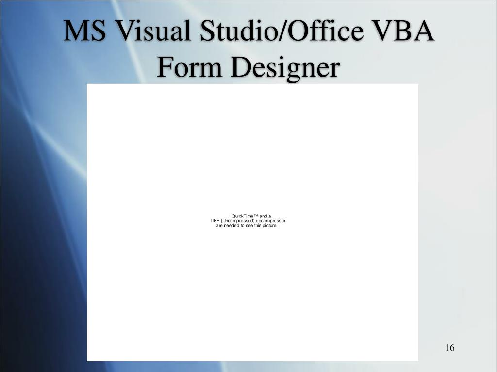 MS Visual Studio/Office VBA Form Designer