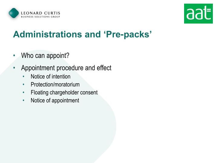 Administrations and 'Pre-packs'