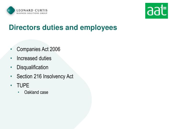 Directors duties and employees