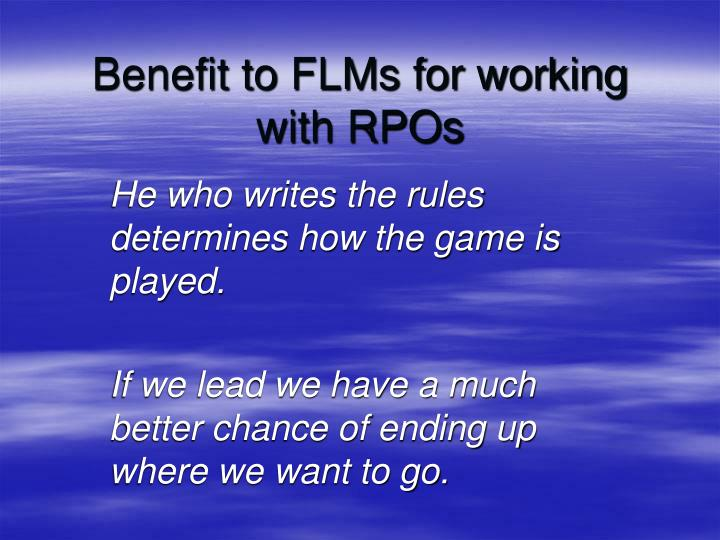 Benefit to FLMs for working with RPOs
