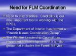 need for flm coordination