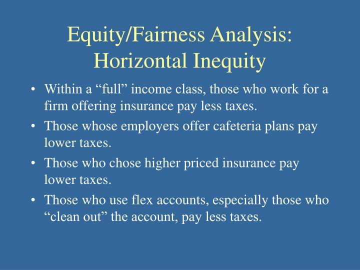 Equity/Fairness Analysis: Horizontal Inequity